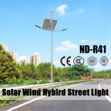 Luz de rua solar do diodo emissor de luz do híbrido do vento com bateria de lítio