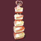 Banco di mostra acrilico della torta della torretta dell'albero della festa nuziale