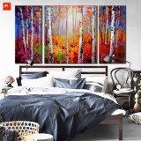 Pintura delgada del arte de la pared de los bosques del árbol de abedul