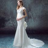 Платье венчания Mermaid шнурка Sleeveles плиссированное Trumpet с отделяемым Bowknot