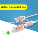 Carregador do cabo do USB do nylon 5V 2A 2in1 para o iPhone Android