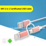 Cabo do USB do nylon 5V 2A 2in1 para o iPhone Android