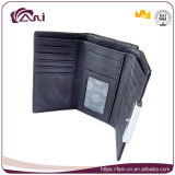 Малый черный бумажник рамки металла женщин неподдельной кожи с высоким качеством