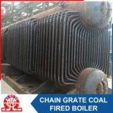 La biomasse a allumé la chaudière brûlante de boulette en bois à chaînes de grille