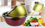 미러 폴란드어와 가진 착색된 스테인리스 믹스하는 그릇 또는 물동이