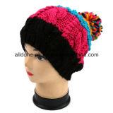 Красивейшие девушки Striped цветастое Hand-Knit с шлемом шерстей бархата