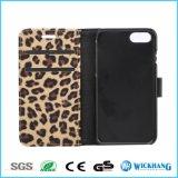 Caja del teléfono del tirón del cuero de la tela del leopardo