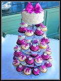 Support acrylique d'étalage de gâteau de mariage de 5 rangées
