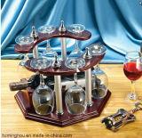 Présentoir en bois classique en verre de vin avec la mémoire de vin