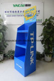 Be Flute Venta al por menor de cartón corrugado piso de la paleta de visualización con barra de metal para Tplink