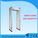 6zones caminhada através do detetor de metais, caminhada através da porta Ub500