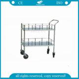 AG-Ss006 Aprobado Cuidado De Enfermería Utilizado Metal Movable Stainless Steel Trolley
