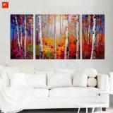 Peinture mince d'art de mur de forêts d'arbre de bouleau