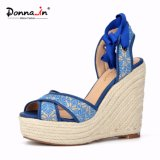 Frauen-Webart-Absatz-Lace-up Dame Rope Wedge Sandals Shoes