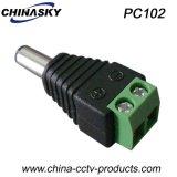 CCTVのカメラ(PC102)のための2.1*5.5mmの男性のDC電源のコネクター