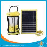 Nuevo diseño de luz solar camping con paneles y dos lámparas