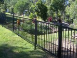 Cerca de aço galvanizada preta antiferrugem Flat-Top do jardim com certificado do GV