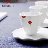 Tazza di tè vitale bianca brillante di Porecelain della qualità superiore, tazza dell'ottagono di ceramica