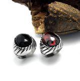 Cor inoxidável da jóia 2 da forma luxuosa dos anéis dos homens da ágata