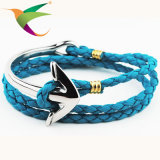 Stlb-17011001 Fashion Anchor Retro Hand-Woven Rope Hand Leather Bracelet Jóias