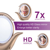 O espelho de venda quente da composição do diodo emissor de luz iluminou-se em volta de 1X/7X iluminado Desktop amplia o espelho da composição com luz do diodo emissor de luz