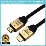 Cabo chapeado do escudo 24k ouro de alumínio de alta velocidade HDMI com Ethernet