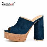 (Donna-в) способ Microfiber покрыл толщиные сандалии платформы пробочки женщин высокой пятки