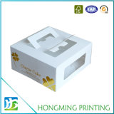 Логос выбивая принимает отсутствующую белую коробку торта картона