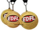 Médaille personnalisée pour la Ligue de Football avec la lanière, placage à l'or, sablage