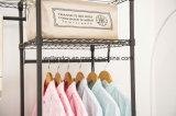 A cremalheira barata do vestuário do Wardrobe do metal da lona para o quarto veste o armazenamento