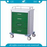 avec le chariot médical en acier de Powercoating de quatre séries vert-foncé de tiroirs (AG-GS003)