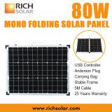 panneau solaire de pliage photovoltaïque mono de 80W 12V pour l'usage à la maison