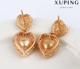 Un oro di cristallo di lusso di 92332 modi ha placcato la vite prigioniera dell'orecchino dei monili nel disegno del cuore