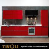 Moderner hoher glatter Lack-hölzerner Furnier-Blattküche-Schrank