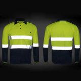 高い反射テープSafetywearの長い袖のポロシャツの働き衣類