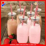 De in het groot Het Drinken van de Melk van het Vruchtesap Fles 1000ml van het Glas met het Deksel van de Schroef