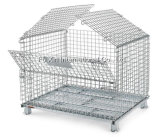 Lager Storage Steel Wire Mesh Roll Container mit Wheels