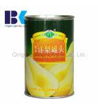 O pêssego amarelo enlatado venda por atacado corta frutas no xarope claro