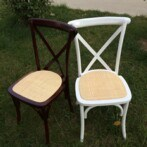 Твердое Wood Mahogany Stacking Cross Back Chair с Rattan Seat