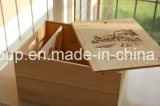 Rectángulo de madera modificado para requisitos particulares nuevo diseño del vino con insignia quemada