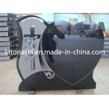 유럽 Heart Headstone, 묘지를 위한 Black Granite Stone Monument Tombstone