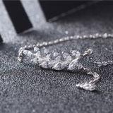 Collar pendiente Dejar-Shaped de la plata esterlina de las mujeres 925 con el encadenamiento