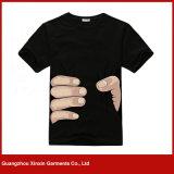 T-shirt redondo da promoção do preto do espaço em branco do algodão da garganta dos homens do OEM (R53)