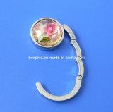 Flor dentro do projeto personalizado de cristal do gancho de gancho da bolsa do saco do metal