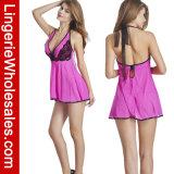 Het Sexy Kant van vrouwen en Lingerie van de Nachtkleding van Halter Babydoll van het Netwerk de Vastgestelde