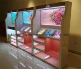 Table d'affichage acrylique ronde en cosmétique avec éclairage LED