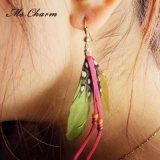 보헤미아 다채로운 기털 분홍색 밧줄 하락 귀걸이
