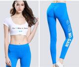 Sécher le pantalon sexy en bonne santé de yoga de femmes, guêtres noires de yoga avec l'impression