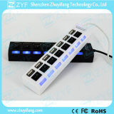 Interruptores independientes y LED de 7 puertos USB Hub 2.0 (ZYF4228)