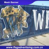 Poliéster ao ar livre resistente da cor cheia do vento que anuncia a bandeira da cerca do engranzamento